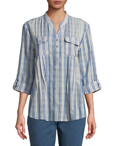 Ruby Rd Plaid Cotton Dobby Top-BLUE-Small