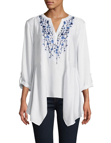 Ruby Rd Woven Embroidered Tunic-VANILLA-Small