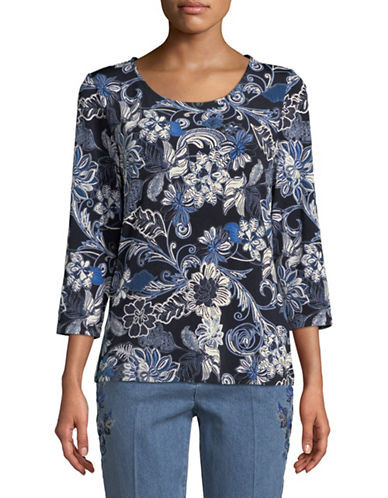 Ruby Rd Dot Floral Top-BLUE-X-Large