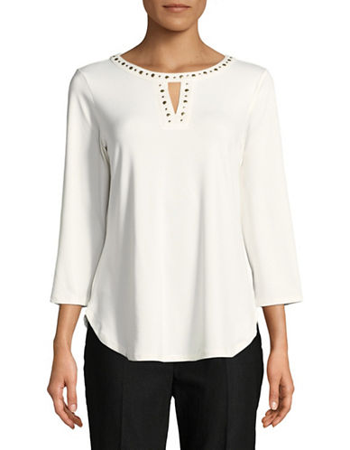 Ruby Rd Embellished Crew Neck Top-VANILLA-Large