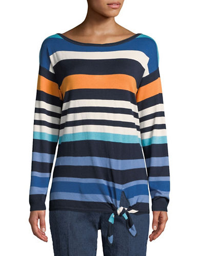 Ruby Rd Side-Tie Striped Pullover-MULTI-X-Large