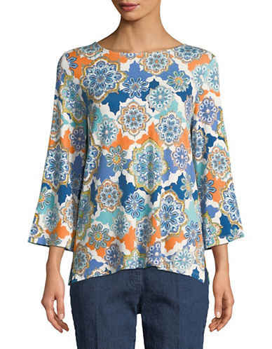 Ruby Rd Printed Crew Neck Top-ORANGE-X-Large