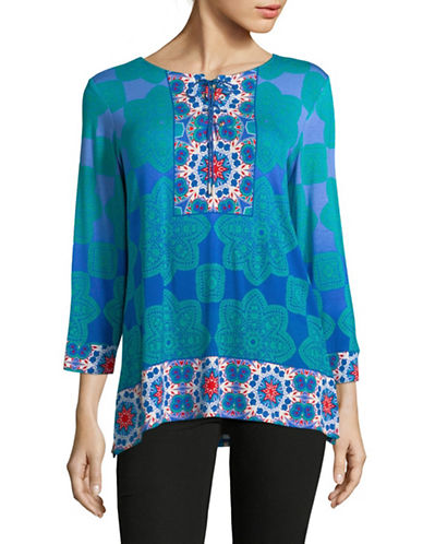Ruby Rd Kaleidoscope Printed Top-GREEN-X-Large