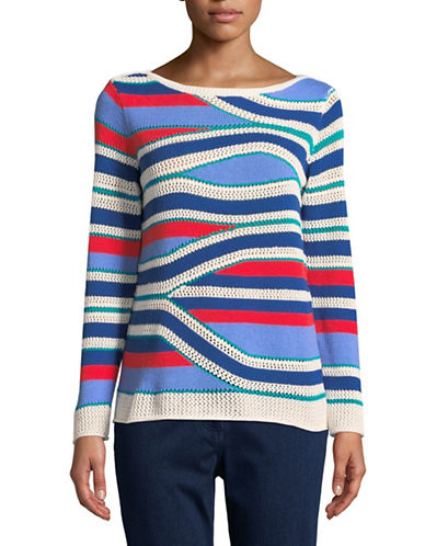 Ruby Rd Striped Sweater-MULTI-Large
