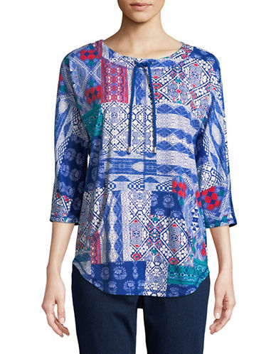 Ruby Rd Patchwork Drawstring Pullover Top-BLUE-X-Large