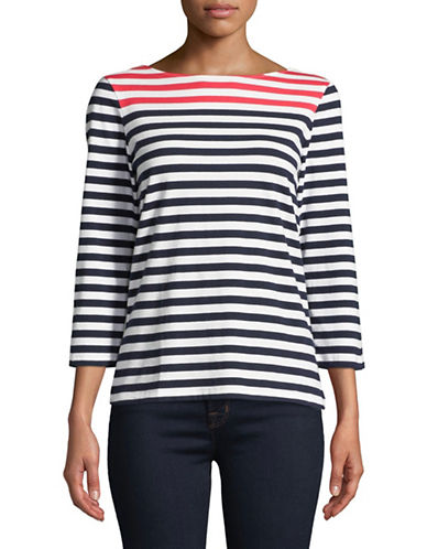 Ruby Rd Striped Knit Top-CORAL-X-Large