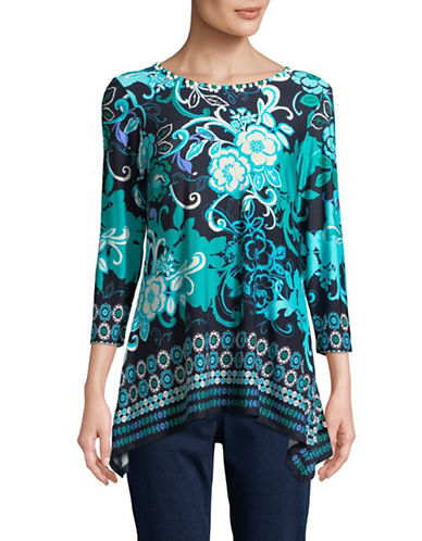 Ruby Rd Floral Print Bead Tunic-TEAL-Small