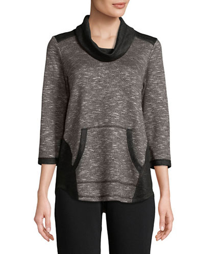 Ruby Rd Pullover Cowl Neck Top-BLACK-Large