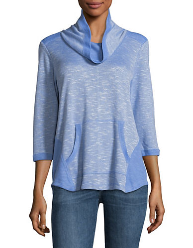 Ruby Rd Pullover Cowl Neck Top-BLUE-X-Large 89811253_BLUE_X-Large