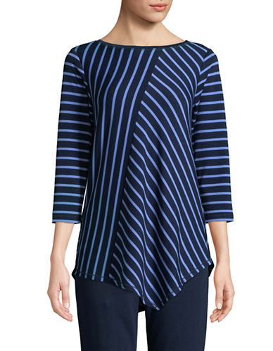 Ruby Rd Striped Stretch Asymmetric Tunic-BLUE-Medium