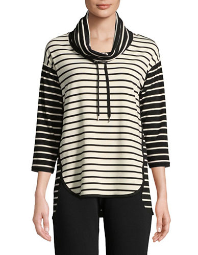 Ruby Rd Striped Stretch Pullover Top-WHITE-Medium
