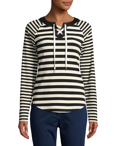 Ruby Rd Striped Stetch Tunic-WHITE-Large