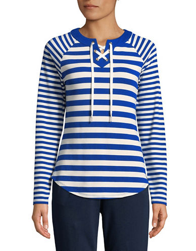Ruby Rd Striped Stetch Tunic-BLUE-X-Large
