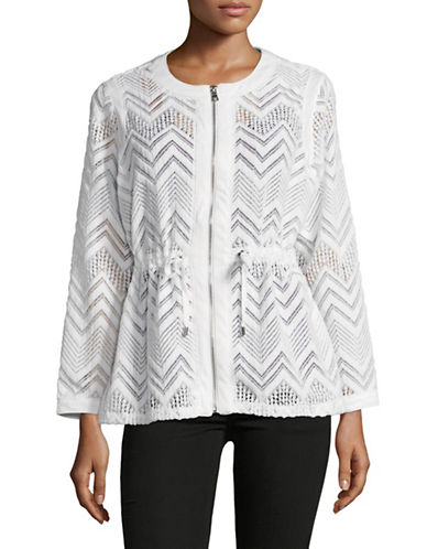 Ruby Rd Chevron Lace Long-Sleeve Jacket-WHITE-X-Large 89820647_WHITE_X-Large