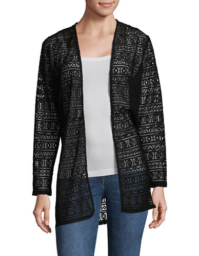 Ruby Rd Stripe Lace Open Front Cardigan-BLACK-Small 89820696_BLACK_Small