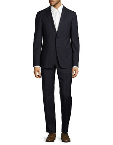 Z Zegna Windowpane Drop Suit-NAVY-EU 56/US 46