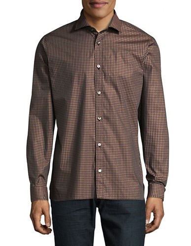 Z Zegna Gingham Sport Shirt-BROWN-EU 41/US 16