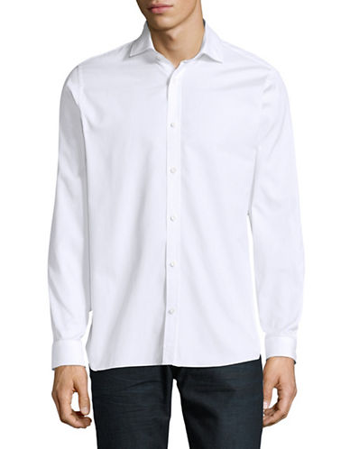 Z Zegna Soft Touch Textured Sport Shirt-WHITE-EU 43/US 17