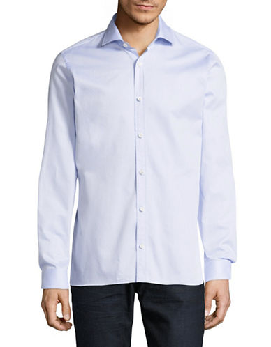 Z Zegna Dotted Sport Shirt-BLUE-EU 42/US 16.5