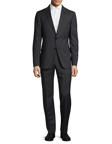Z Zegna Pinstripe Two-Piece Wool Suit-CHARCOAL-EU 54/US 44