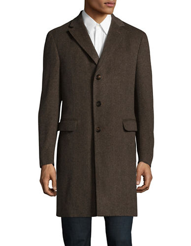 Z Zegna Herringbone Wool-Blend Coat-BROWN-EU 52/Large