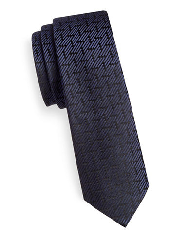 Z Zegna Geometric Pattern Slim Silk Tie-BLUE-One Size