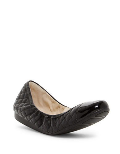 Cole Haan Quilted Patent Ballet Flats-BLACK-8.5