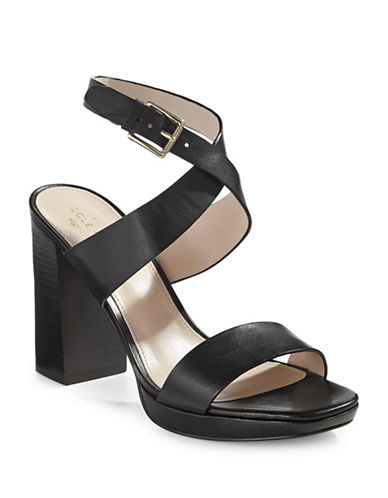 Cole Haan Fenley High Printed Leather Sandals-BLACK-9