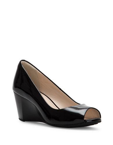 Cole Haan Sadie Peeptoe  Patent Wedge Heels-BLACK PATENT-8.5