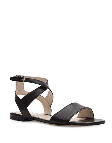 Cole Haan Fenley Leather Flat Sandals-BLACK-6.5