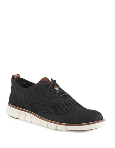 Cole Haan ZeroGrand Stitch Lite Knit Brogue Shoes-BLACK-8.5