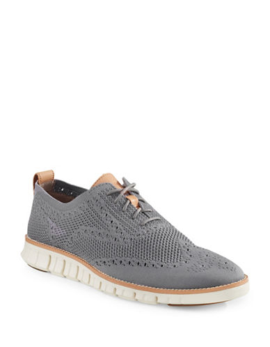 Cole Haan ZeroGrand Stitch Lite Knit Brogue Shoes-GREY-7.5