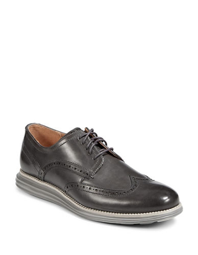 Cole Haan Leather Oxford Shoes-GREY-8