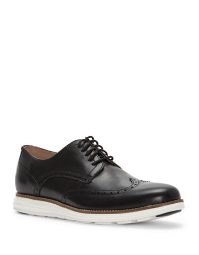 Cole Haan Grand Shortwing Leather Oxfords-BLACK-9.5