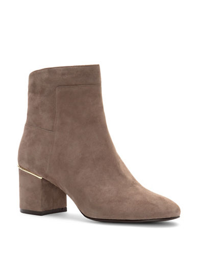 Cole Haan Arden Block Heel Suede Booties-BROWN-9