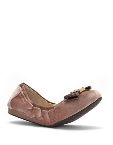 Cole Haan Tali Bow Velvet Ballet Flats-NUDE-8.5
