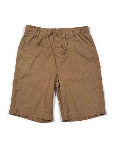 7 For All Mankind Athletic Woven Ripstop Cotton Shorts-BEIGE-Small