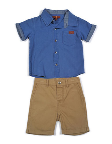 7 For All Mankind Two-Piece Button-Front Shirt and Shorts Set-BLUE-12 Months