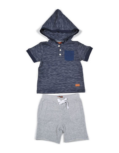 7 For All Mankind Hooded Top and Shorts Set-BLUE-18 Months