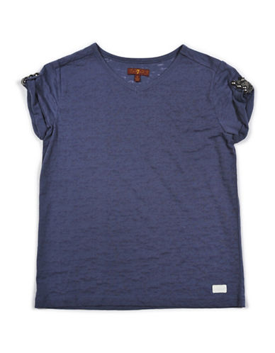 7 For All Mankind V-Neck Cotton Blend T-Shirt-BLUE-Small