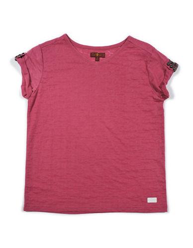 7 For All Mankind V-Neck Cotton Blend T-Shirt-ROSE-Large
