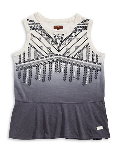 7 For All Mankind Ombre Sequined Tank Top-WHITE-Small