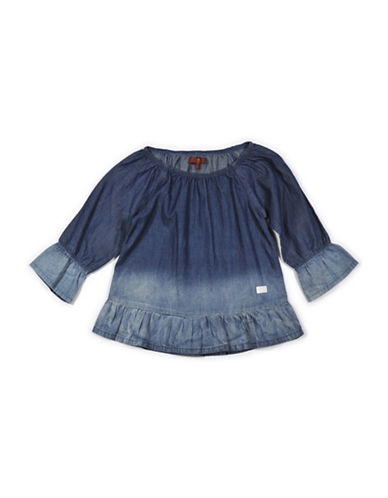 7 For All Mankind Chambray Ruffle Top-BLUE-Medium