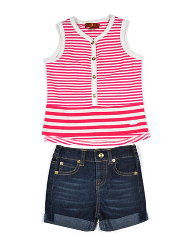 7 For All Mankind Two-Piece Tank and Shorts Set-DARK PINK-24 Months