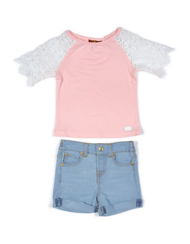 7 For All Mankind Two-Piece Top and Shorts Set-SILVER-12 Months