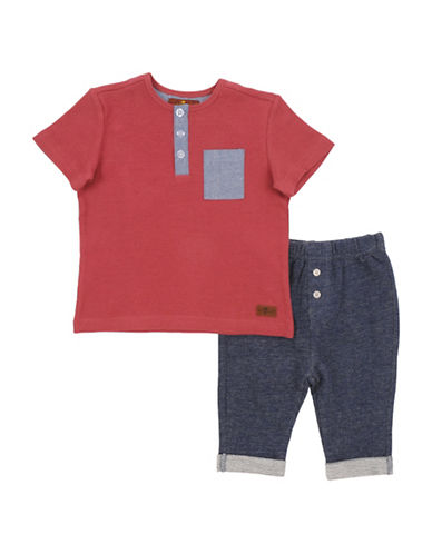 7 For All Mankind Two-Piece Henley and Jeans Set-RED-18 Months