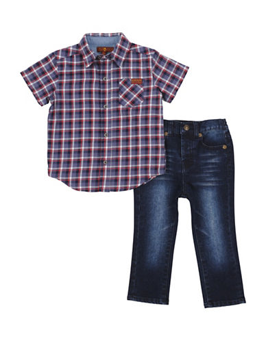 7 For All Mankind Plaid Collared Shirt and Jeans Set-RED-24 Months