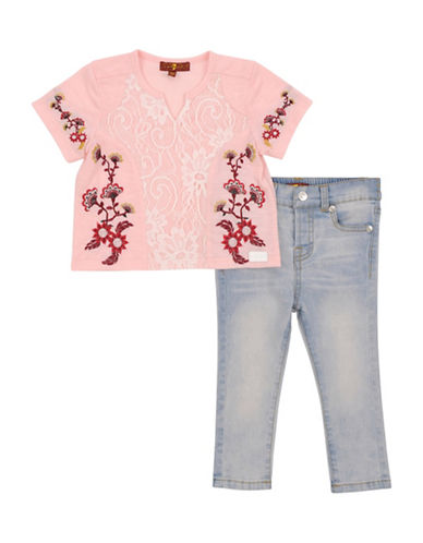 7 For All Mankind Embroidered Tee and Jeans Set-PINK-18 Months