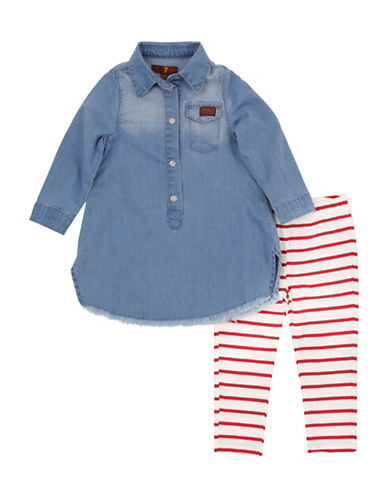 7 For All Mankind Denim Dress and Leggings Set-DENIM-24 Months
