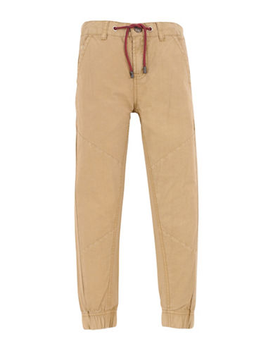 7 For All Mankind Boys Paneled Cotton Jogger Pants-BEIGE-8